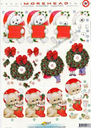 Morehead Christmas Kitten with a Stocking 3D Die Cut Decoupage Sheet